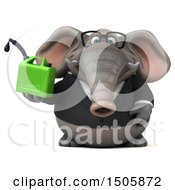 3d Business Elephant Holding A Gas Can On A White Background