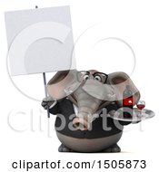 3d Business Elephant Holding A Wine Tray On A White Background