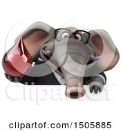 Clipart Of A 3d Business Elephant Holding A Blood Drop On A White Background Royalty Free Illustration