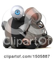 3d Business Elephant Holding An Eyeball On A White Background