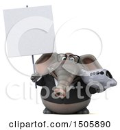 Poster, Art Print Of 3d Business Elephant Holding A Plane On A White Background