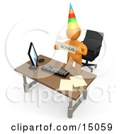 Well Deserving Orange Figure Employee Wearing A Party Hat And Blowing On A Noise Maker While Standing Behind His Office Desk And Holding A Bonus Sign