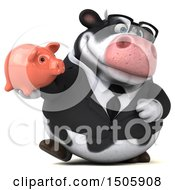 3d Business Holstein Cow Holding A Piggy Bank On A White Background