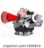 3d Business Holstein Cow Holding A Dollar Sign On A White Background