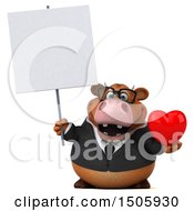 Poster, Art Print Of 3d Brown Business Cow Holding A Heart On A White Background