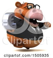 Poster, Art Print Of 3d Brown Business Cow Holding A Euro On A White Background