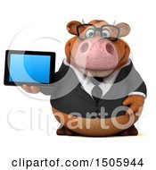 3d Brown Business Cow Holding A Tablet On A White Background