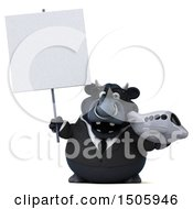 Clipart Of A 3d Black Business Bull Holding A Plane On A White Background Royalty Free Illustration