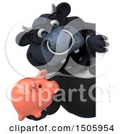 Poster, Art Print Of 3d Black Business Bull Holding A Piggy Bank On A White Background