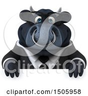 Clipart Of A 3d Black Business Bull Over A Sign On A White Background Royalty Free Illustration by Julos