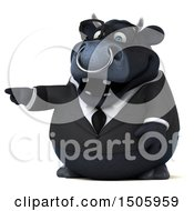 Clipart Of A 3d Black Business Bull Pointing On A White Background Royalty Free Illustration