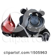 Clipart Of A 3d Black Business Bull Holding A Blood Drop On A White Background Royalty Free Illustration