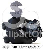3d Black Business Bull Holding A Dollar Sign On A White Background