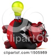 Poster, Art Print Of 3d Red Business Bull Holding A Light Bulb On A White Background