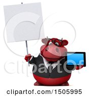 3d Red Business Bull Holding A Tablet On A White Background