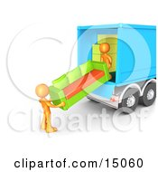 Two Orange Male Figures Lifting And Loading A Green And Orange Living Room Sofa Into A Blue Moving Truck