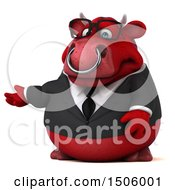 Clipart Of A 3d Red Business Bull Presenting On A White Background Royalty Free Illustration