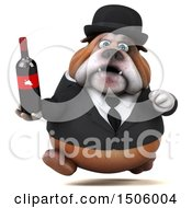 Clipart Of A 3d Gentleman Or Business Bulldog Holding A Wine Bottle On A White Background Royalty Free Illustration