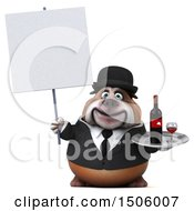 Clipart Of A 3d Gentleman Or Business Bulldog Holding A Wine Tray On A White Background Royalty Free Illustration