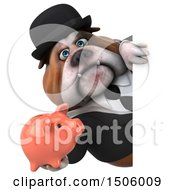 Poster, Art Print Of 3d Gentleman Or Business Bulldog Holding A Piggy Bank On A White Background