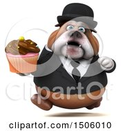 Clipart Of A 3d Gentleman Or Business Bulldog Holding A Cupcake On A White Background Royalty Free Illustration