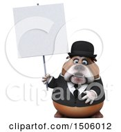 Clipart Of A 3d Gentleman Or Business Bulldog Holding A Sign On A White Background Royalty Free Illustration