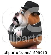 Clipart Of A 3d Gentleman Or Business Bulldog On A White Background Royalty Free Illustration