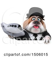 Poster, Art Print Of 3d Gentleman Or Business Bulldog Holding A Plane On A White Background