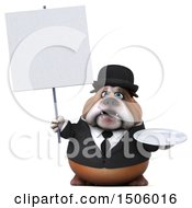 Clipart Of A 3d Gentleman Or Business Bulldog Holding A Plate On A White Background Royalty Free Illustration