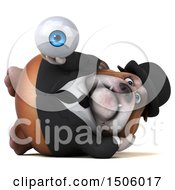 Clipart Of A 3d Gentleman Or Business Bulldog Holding An Eyeball On A White Background Royalty Free Illustration