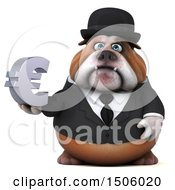 Poster, Art Print Of 3d Gentleman Or Business Bulldog Holding A Euro On A White Background