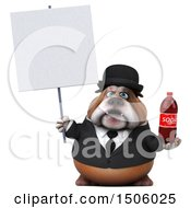 Clipart Of A 3d Gentleman Or Business Bulldog Holding A Soda On A White Background Royalty Free Illustration
