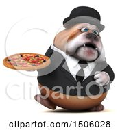 Clipart Of A 3d Gentleman Or Business Bulldog Holding A Pizza On A White Background Royalty Free Illustration
