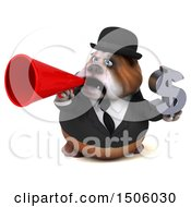 3d Gentleman Or Business Bulldog Holding A Dollar Sign On A White Background