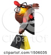 3d Chubby Brown Business Chicken Holding Shopping Bags On A White Background