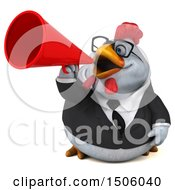 3d Chubby White Business Chicken Using A Megaphone On A White Background