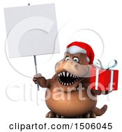 3d Brown Christmas T Rex Dinosaur Holding A Gift On A White Background