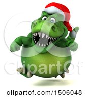 Poster, Art Print Of 3d Green Christmas T Rex Dinosaur Running On A White Background