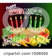 Clipart Of A Happy Kwanzaa Greeting With Vegetables And Candles Royalty Free Vector Illustration by AtStockIllustration
