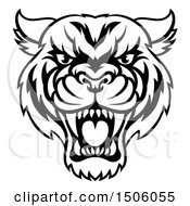 Clipart Of A Black And White Tough Tiger Mascot Face Royalty Free Vector Illustration
