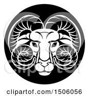 Zodiac Horoscope Astrology Aries Ram Circle Design Black And White