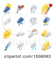 Clipart Of 3d Isometric Weather Forecast Icons Royalty Free Vector Illustration by AtStockIllustration
