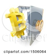 Clipart Of A 3d Gold Bitcoin Currency Symbol And Light Emerging From A Vault Royalty Free Vector Illustration