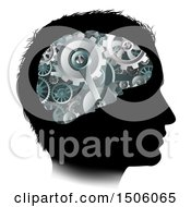 Poster, Art Print Of Black Silhouetted Mans Head With 3d Gear Cogs Visible In His Brain