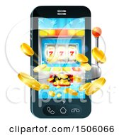 Clipart Of A 3d Casino Slot Machine Spitting Out Coins From A Mobile Phone Screen Royalty Free Vector Illustration