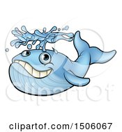 Clipart Of A Blue Whale Spouting Water Royalty Free Vector Illustration