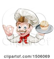Cartoon Happy White Male Chef Baker Gesturing Ok And Holding A Cupcake On A Tray