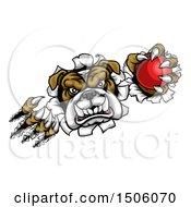 Poster, Art Print Of Tough Bulldog Monster Shredding Through A Wall With A Cricket Ball In One Hand
