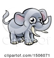 Clipart Of A Happy Elephant With Tusks Royalty Free Vector Illustration by AtStockIllustration
