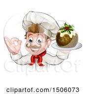 Happy White Male Chef Gesturing Ok And Holding A Christmas Pudding
